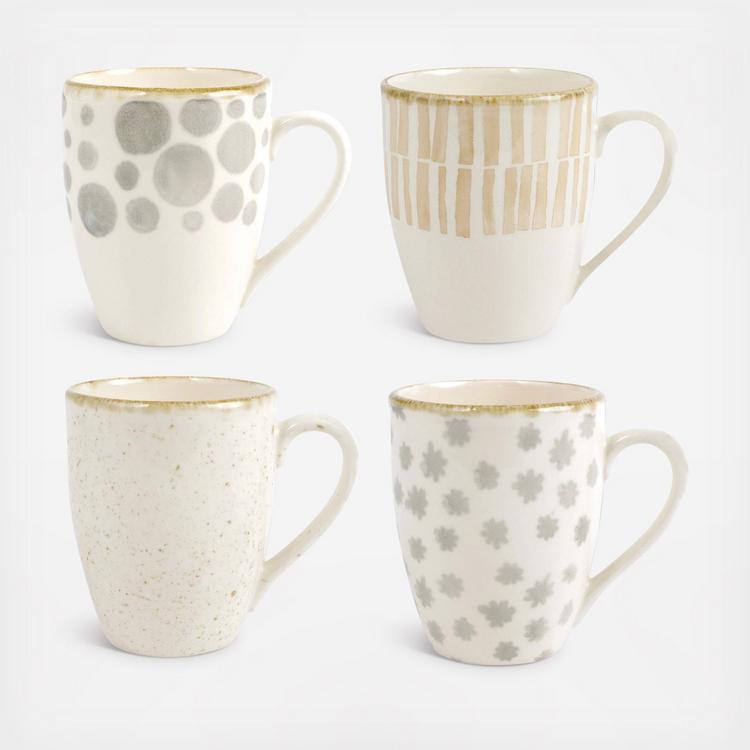 Viva By Vietri Earth Assorted Mugs Set Of 4 Zola