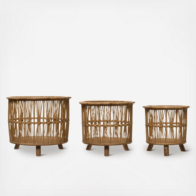 Creative Co Op 3 Piece Woven Bamboo Footed Basket Set Zola