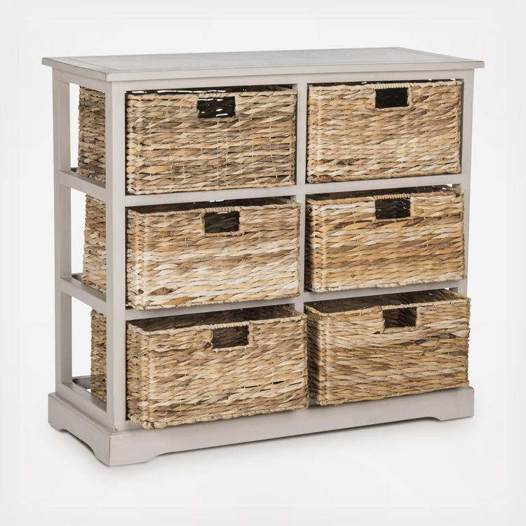 Keenan 6 Wicker Basket Storage Chest