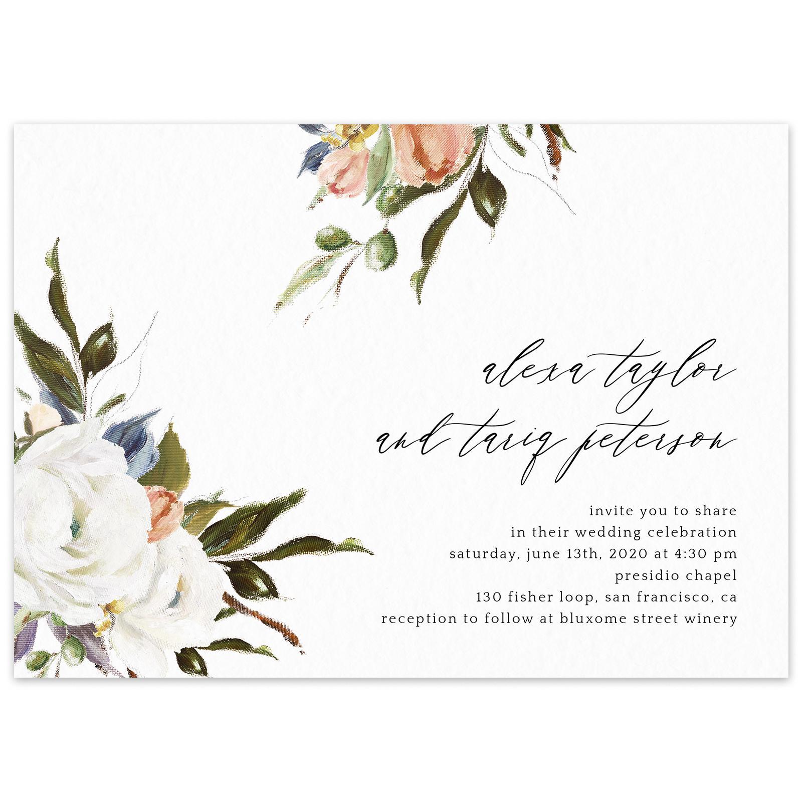 Octavia Script wedding invitation in White by Zola