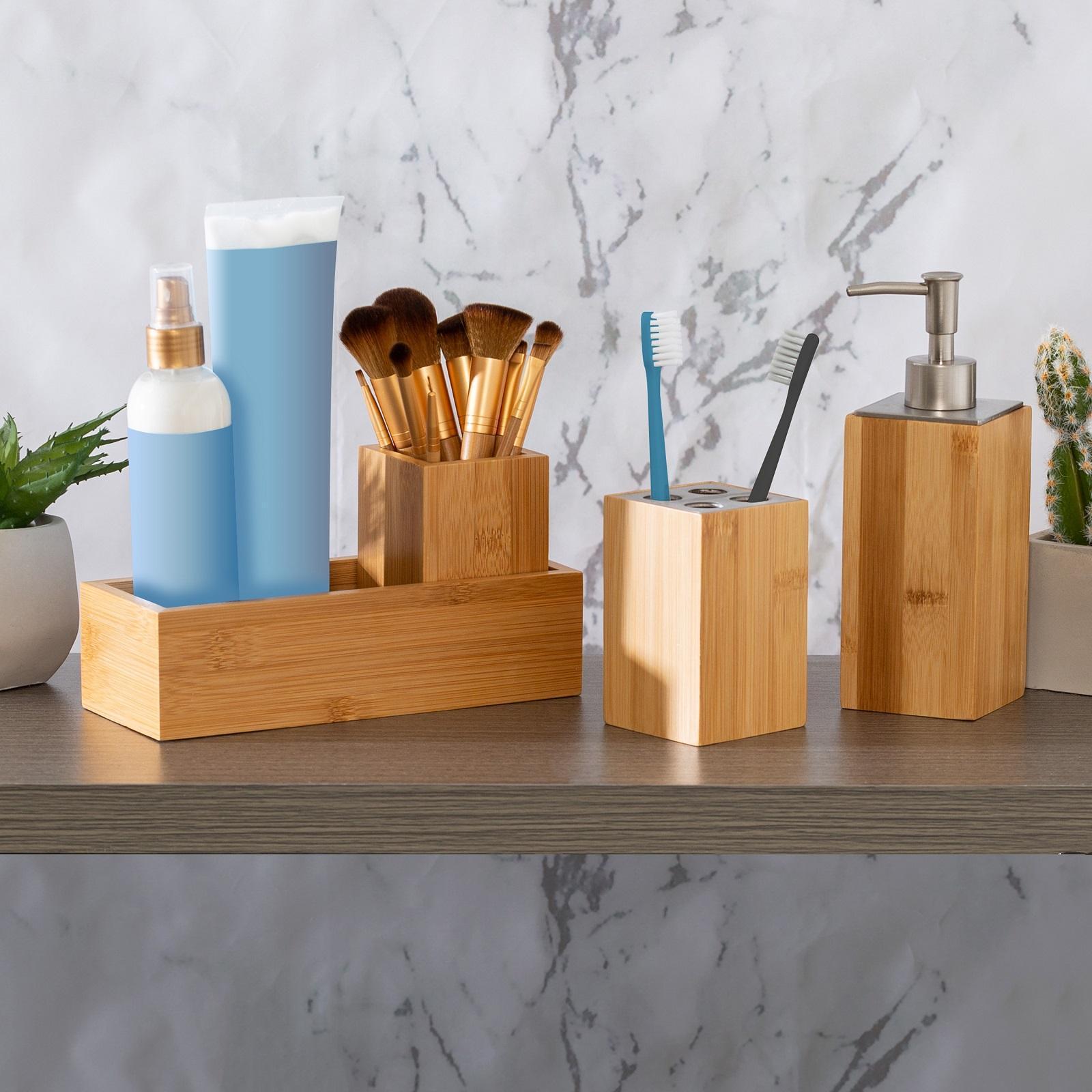 Honey Can Do Bamboo 4 Piece Bathroom