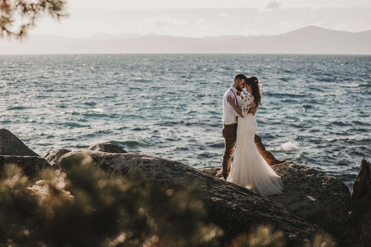 Intimate Outdoor Elopement On Secret Beach In Northern Lake Tahoe Zola