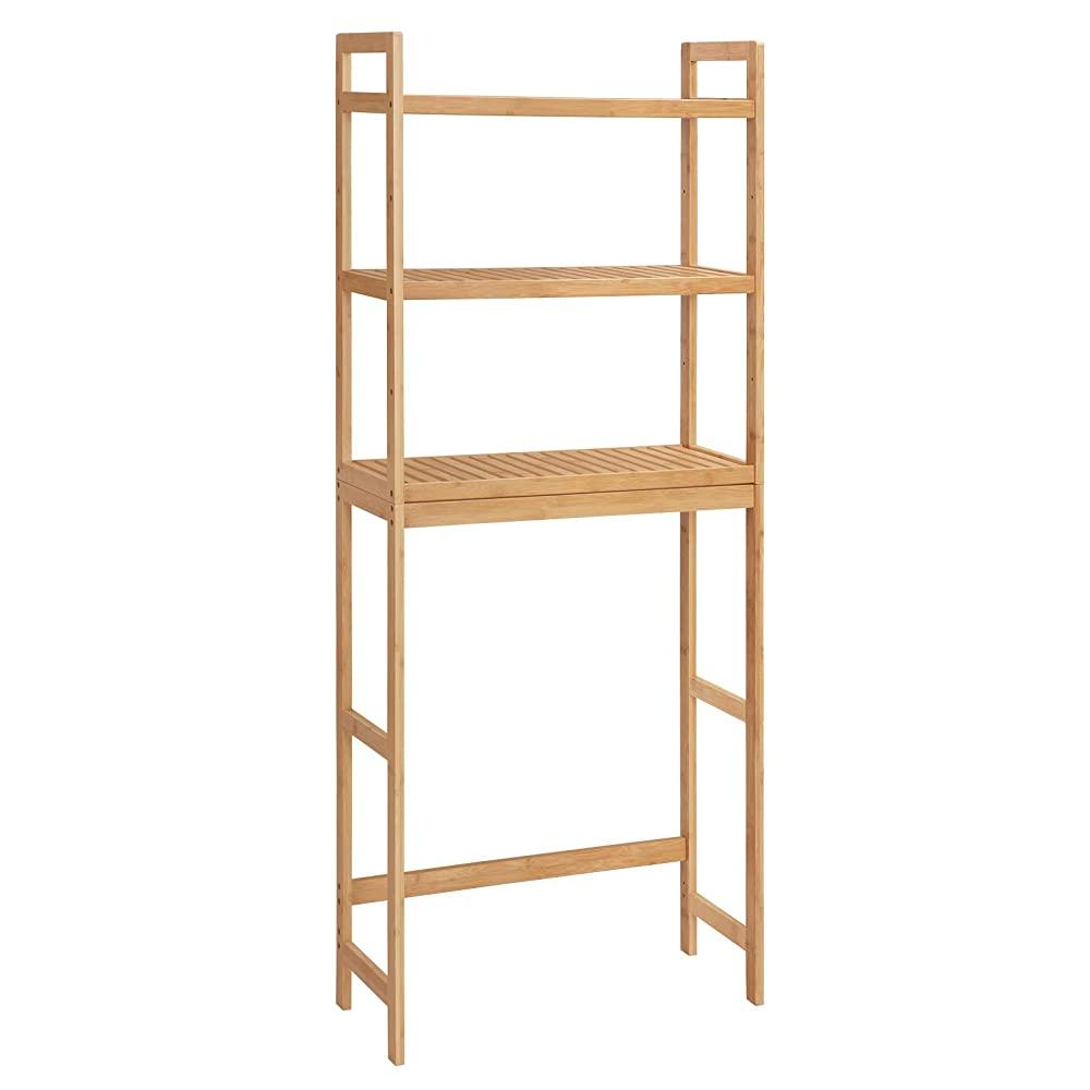 SONGMICS Over-The-Toilet Storage Multifunctional Toilet Rack Static Load Capacity 33 lb per Tier Natural UBTS001N01 3-Tier Bamboo Bathroom Organizer with Adjustable Shelves Easy to Assemble