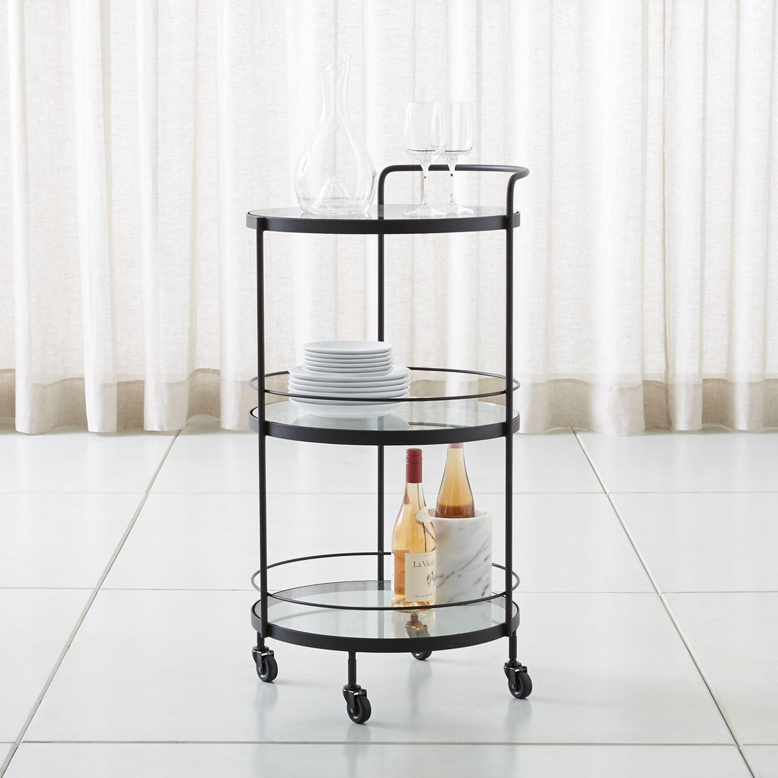 Noir Round Bar Cart by Crate and Barrel | Wedding Planning, Registry & Gifts