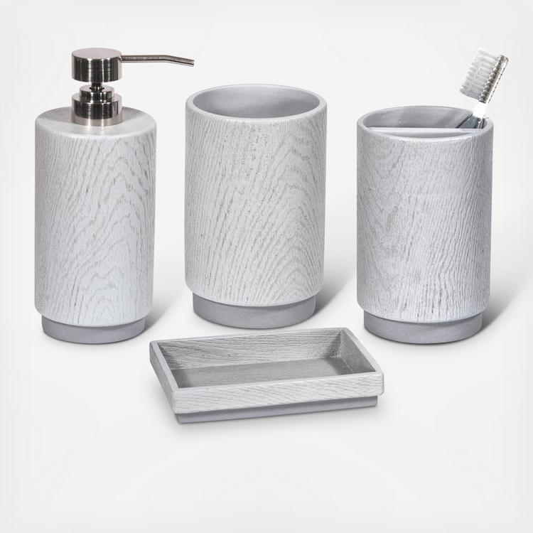 Grey Wood 4 Piece Bath Accessories Set