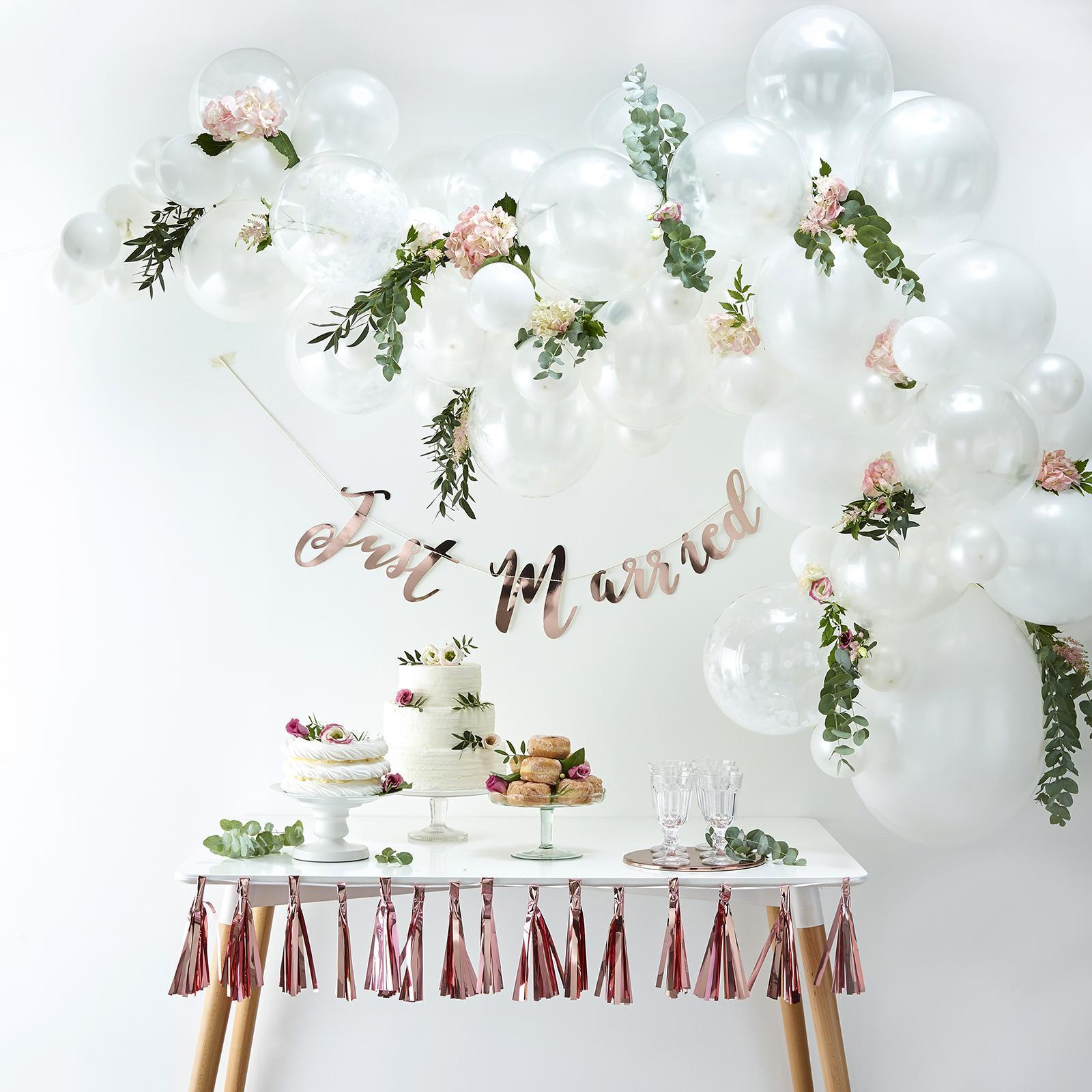 Vintage Wedding Decoration Boho Pack of 10 Just Married Balloons White
